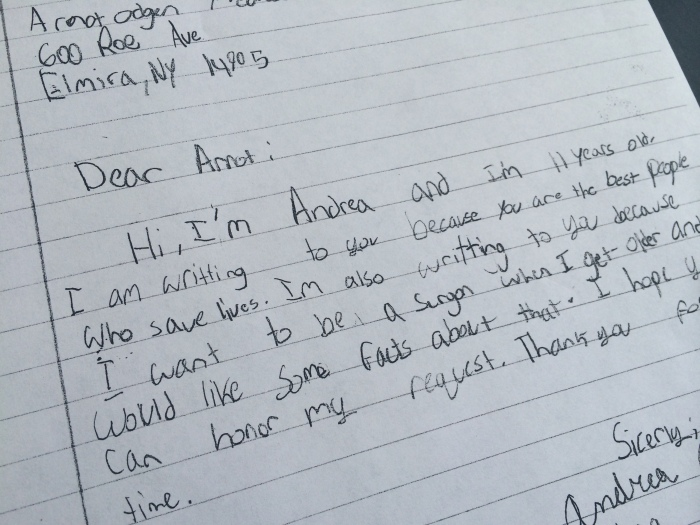 Letter to surgeons from 11-year-old Andrea